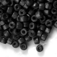 1200 Perles en bois Donut noir  3x4mm ...taille du trou = 1.4 mm