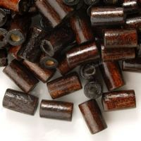 450 Perles en bois Tube brun  8x5mm ..taille du trou = 1.6 mm