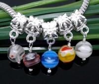 Mixte Pendants Breloques Verre pour Bracelet X 10