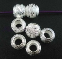 Perles intercalaires Rond Dépolies Argenté 8mm  taille du trou = 3 mm X 5