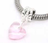 Pendentifs Perles Coeur en Verre Rose Argenté pour Bracelet  24x10mm X 10
