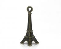 Pendentifs  Tour Eiffel Couleur Bronze 30x9mm X 4