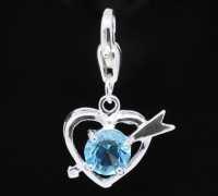 Cœur Cupidon Strass bleu pour Bracelet  X 10