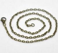 Colliers Fermoir Mousqueton Couleur bronze 3.5x2.5mm 46cm X 1