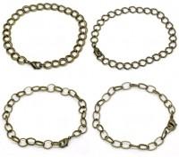 4 Mixte Bracelets Fermoir Mousqueton Couleur bronze 20cm X 4 chaines