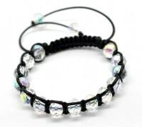 Bracelets Cordon Ciré Réglable  Perles Crystal Verre Couleur AB  21cm