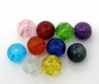 Mixte Perles Rondes Verre Craquelé  6mm...taille du trou = 1 mm X 200