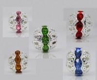 Mixte Perles  Strass Ajourées Argentées 10x9.5mm X 10