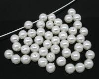 Perles en Acrylique Rondes  Blanches  8mm ...taille du trou = 1.5 mm x 10