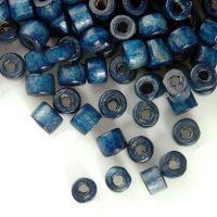 1200 Perles en bois Donut bleu  3x4mm ..taille du trou = 1.6 mm
