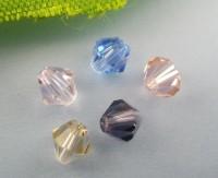 Mixte Perles toupies Cristal verre  4mm....Taille du trou 0.8 mm  X 100