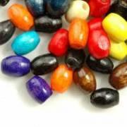 650 Mixte Perles en bois Grain de riz 6x4mm  taille du trou = 1 mm