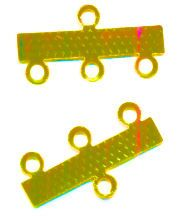 INTERCALAIRES. BARRETTE 3 RANGS OR 23 X 10 mm X 10