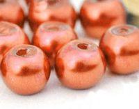 Perles Nacrées  Rondes corail 4mm  X 50