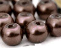 Perles Nacrées  Rondes marron 4mm  X 50