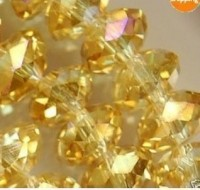 Perles cristal JONQUIL / CHAMPAGNE   8x6mm x 70