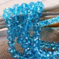 Perles light sapphire  8x6mm, X 64
