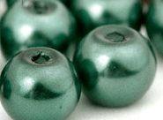 Perles Nacrées  Rondes Vert Foncé 6mm  X 25