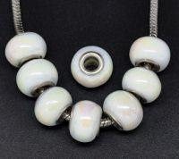 Perles Lampwork Verre Blanc AB pour Bracelet  14x10mm X 10