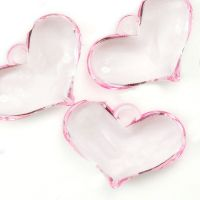Perles Acrylique Coeur Rose  20x29mm  X 8