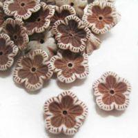 Perles Fleur Brun Acrylique  13x13mm  X 10
