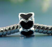 Perles Cœur Émail noir Argenté   8x5mm X 10