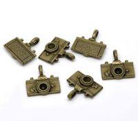 Pendentifs breloque Caméra Bronze 22x21mm X 2