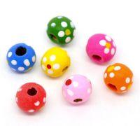 Mixte Perles à pois Bois Multicolore 10x9mm taille du trou = 2.4 mm X 50