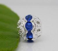 Perles  Strass Bleues Ajourées Argentées 10x9.5mm X 10
