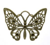 Pendentifs breloque  Papillon Bronze 48x36mm X 5