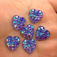 Coeur Résine violet AB14 mm Scrapbooking avec trous   a coudre ou a coller X 5