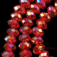 Perles  rouges  6 x 8 mm X 70