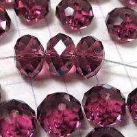 Perles  cristal ,rose fuschia  6x8mm,  X 70