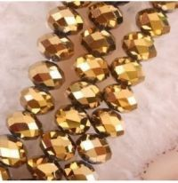 Perles  cristal ,or  6x8mm,  X 68
