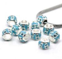 Perles Strass Émail bleu  9x8mm X 10