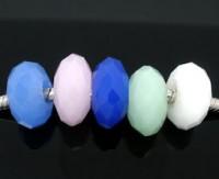 Mixte Perles Verre Facette 5 Couleurs 14x8mm X 10