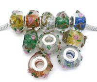 Mixte Perle lampwork verre  14x10mm X 10