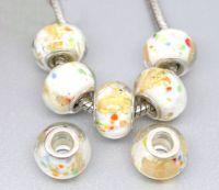 Perles lampwork verre Blanc  14x10mm X 10