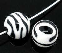 Perles  Zébrées, Acrylique Ronde  15mm X 10