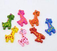 Mixte Perles Bois Girafe Multicolore 36x18mm X 10