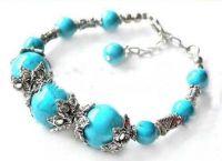 Bracelet perles de turquoise & argent tibétain, 19cm X 1