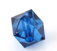 Perles  Acrylique cube Facette Bleu foncé 10x10mm  X 20