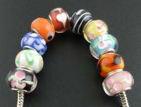 Mixte Perles lampwork verre Grand trou 14x10  X 10