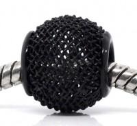 Perles mailles stressees ajourees Noir    12 x 10 X 10