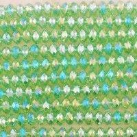 Perles de cristal ,vert 6x8mm,  Taille du trou 1 mm  X 70