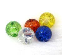 Mixte Perles Rondes Verre Craquelé 6 mm....taille du trou = 1 mm X 20