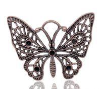 Pendentifs Charms Papillon Couleur cuivre 48x36mm X 2