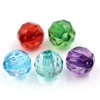 Mixte Perles rondes  Acrylique  6mm  .........Taille du trou 1.5 mm  X 20