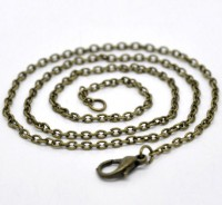Colliers Fermoir Mousqueton Couleur bronze 2x3mm 46cm X 1