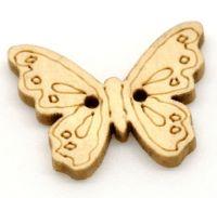 Boutons en Bois Papillon 2 Trous Jaune clair Couture 23x18mm X 50